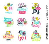 vector poster collection with... | Shutterstock .eps vector #764038444