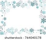 winter card border of snow... | Shutterstock .eps vector #764040178