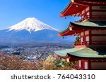 landmark of japan chureito red... | Shutterstock . vector #764043310