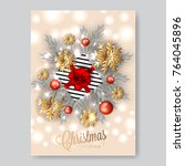 merry christmas invitation with ... | Shutterstock .eps vector #764045896