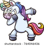 dabbing cartoon unicorn. vector ... | Shutterstock .eps vector #764046436