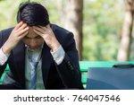 asia business man raised their... | Shutterstock . vector #764047546