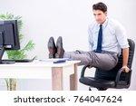 businessman doing sports in... | Shutterstock . vector #764047624