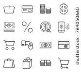 thin line icon set   basket ... | Shutterstock .eps vector #764050660