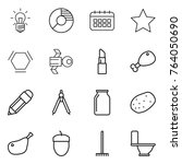 thin line icon set   bulb ...