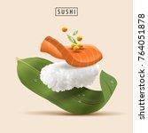 salmon sushi elements ... | Shutterstock .eps vector #764051878