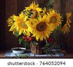 beautiful bouquet of sunflowers ... | Shutterstock . vector #764052094