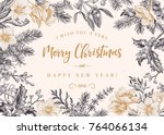 christmas invitation in vintage ... | Shutterstock .eps vector #764066134