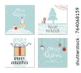 set of 4 cute christmas gift... | Shutterstock . vector #764068159