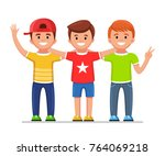 best friends hugging and... | Shutterstock .eps vector #764069218