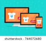 responsive internet shop design ... | Shutterstock .eps vector #764072680