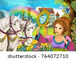 cartoon scene with beautiful... | Shutterstock . vector #764072710