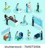 isometric cleaning service set... | Shutterstock .eps vector #764073406