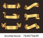 ribbon banner set.vector gold... | Shutterstock .eps vector #764073649