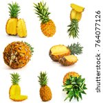 many different pineapple on... | Shutterstock . vector #764077126
