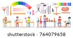 set of stationery items ... | Shutterstock .eps vector #764079658