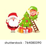 santa claus and elf decorating... | Shutterstock .eps vector #764080390