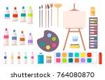 art supplies vector... | Shutterstock .eps vector #764080870