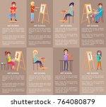 art school set of banners with... | Shutterstock .eps vector #764080879
