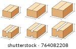 size of cardboard box | Shutterstock .eps vector #764082208