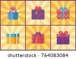 collection of present packages... | Shutterstock .eps vector #764083084