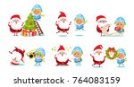 santa claus with snow maiden... | Shutterstock .eps vector #764083159