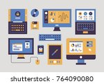 computer monitor and mobile... | Shutterstock .eps vector #764090080