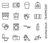 thin line icon set   welcome... | Shutterstock .eps vector #764090260