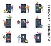 oversize mobile phone app... | Shutterstock .eps vector #764090656