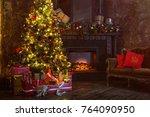 interior christmas. magic... | Shutterstock . vector #764090950
