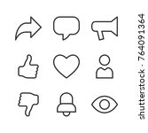 basic social icons for web and... | Shutterstock .eps vector #764091364