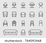 chair and sofa of front view... | Shutterstock .eps vector #764092468