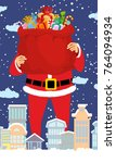 santa claus and bag of gifts in ... | Shutterstock .eps vector #764094934
