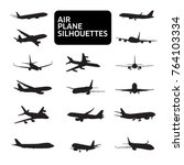 set of airplanes silhouettes.... | Shutterstock .eps vector #764103334