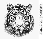 cool tiger face. vector... | Shutterstock .eps vector #764103853