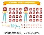 big vector animation set. front ... | Shutterstock .eps vector #764108398