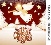 merry christmas cute...   Shutterstock .eps vector #764111458