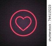heart emoji super neon light... | Shutterstock .eps vector #764115223