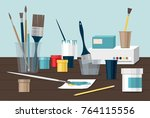 hobby. paints  brushes  colored ... | Shutterstock .eps vector #764115556