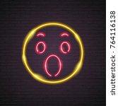 neon light glowing wow symbol... | Shutterstock .eps vector #764116138