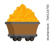 trolley of bitcoins isolated.... | Shutterstock .eps vector #764116750