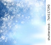 blue background with snowflakes | Shutterstock .eps vector #764117290