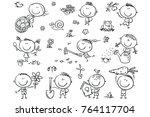 kids gardening set  black and...   Shutterstock .eps vector #764117704