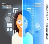 face recognition system... | Shutterstock .eps vector #764119900