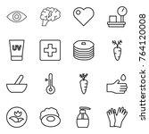thin line icon set   eye  brain ... | Shutterstock .eps vector #764120008