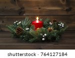 first advent   decorated advent ... | Shutterstock . vector #764127184