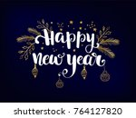 simple new year card   dark... | Shutterstock .eps vector #764127820