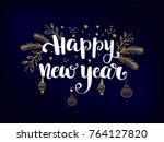 simple new year card   dark...   Shutterstock .eps vector #764127820