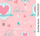 romantic seamless pattern for... | Shutterstock .eps vector #764130220