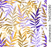 seamless pattern with leafs... | Shutterstock . vector #764130280